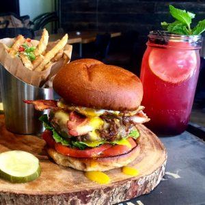Day-Night-Burger-half-lb-burger-carmelized-onions-over-easy-egg-avocado-bacon-provolone-Blackberry-Bourbon-Lemonade