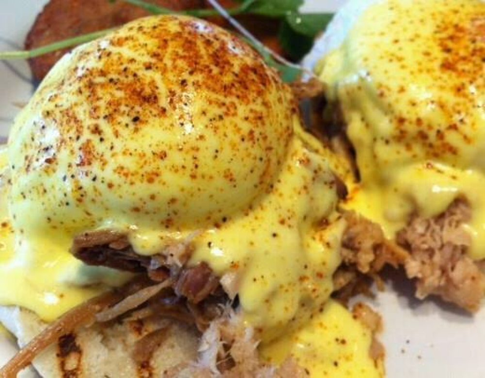 Pork Carnitas Benedict - The Breakfast Club and Grill