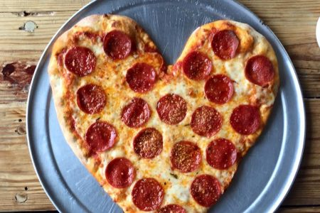 Heart Shaped Pizza at The Local Pizzeria for Valentine's Day