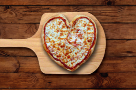 Valentine's Day Heart Shaped Pizza at Connie's Pizza