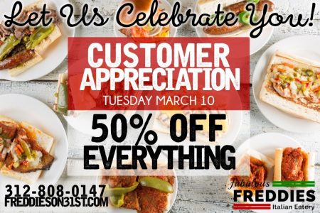 Fabulous Freddie's Celebrates their Customers with 50% off the Entire Menu, 3/10