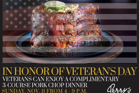 Veterans and Active Military, Enjoy A Complimentary Sunday Supper on Veteran's Day at Perry's Steakhouse & Grille in Oak Brook