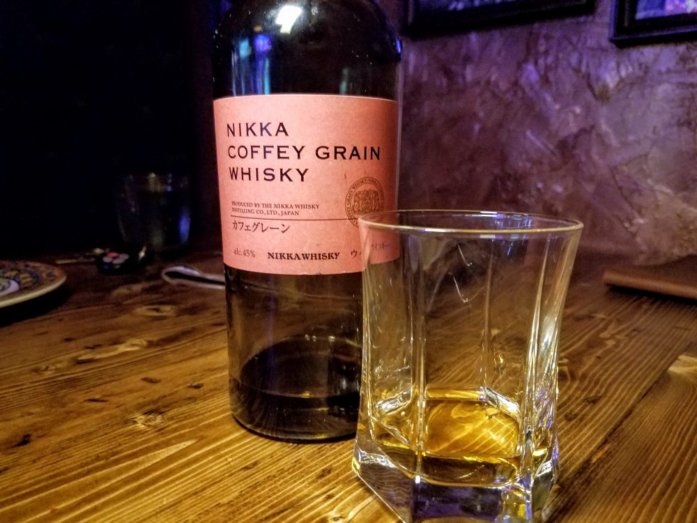 Our final treat of the evening. A pour of Nikka Coffey Grain Whisky.
