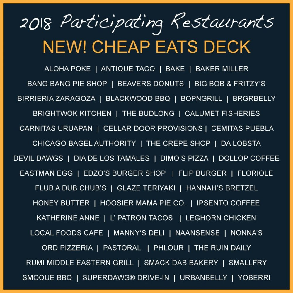 2018 Cheap Eats Restaurants
