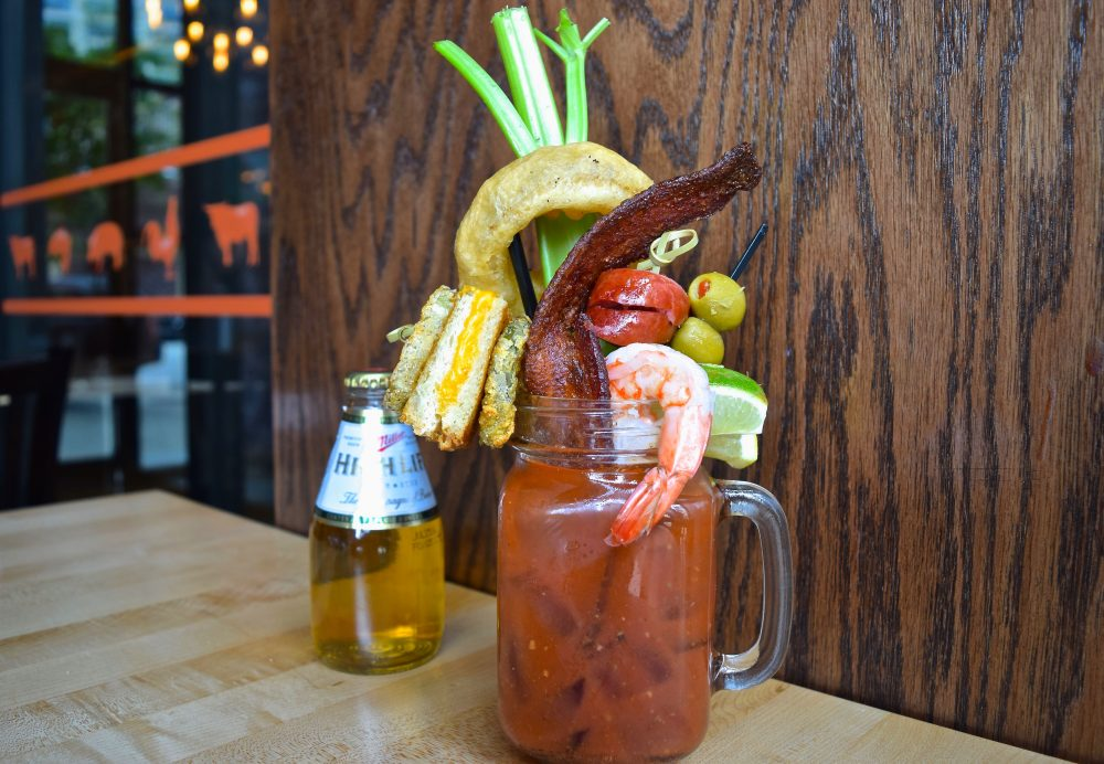 Belly up smokehouse meal in a glass bloody mary