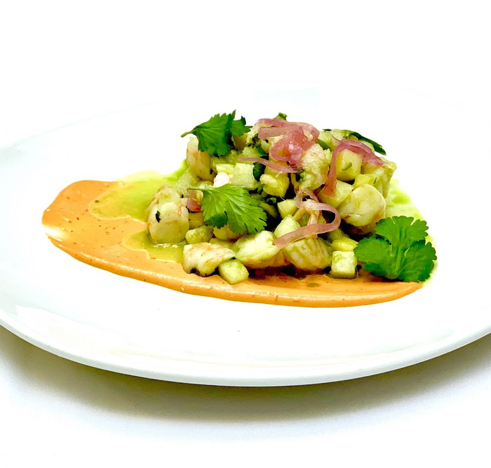 Ceviche Verde Shrimp Pineapple Cucumber Salsa Cruda