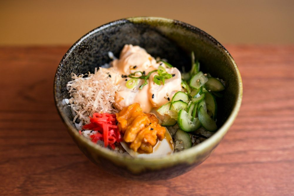Strings Ramen Donburi with Spicy Scallops and Uni
