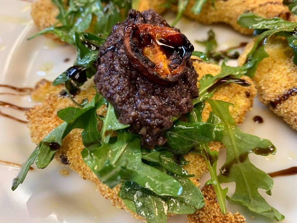 Fried Polenta Arugula Blitzed Kalamata Olive Charred Tomato Balsamic Glaze And Local Honey 1
