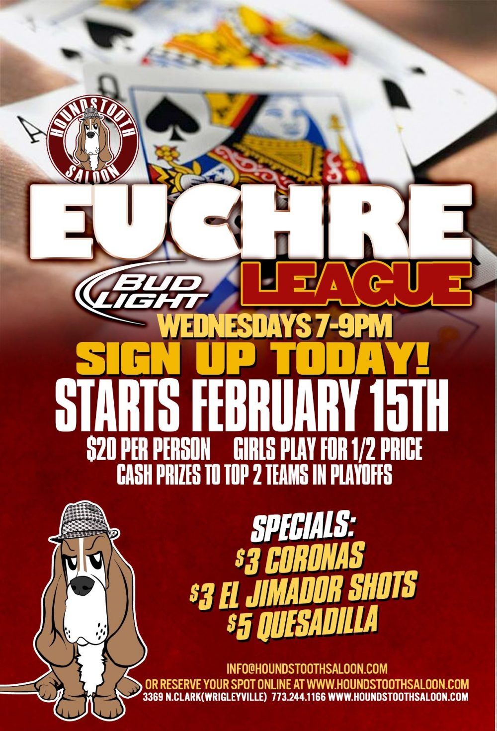 Euchre Winter League Registration at Houndstooth Saloon