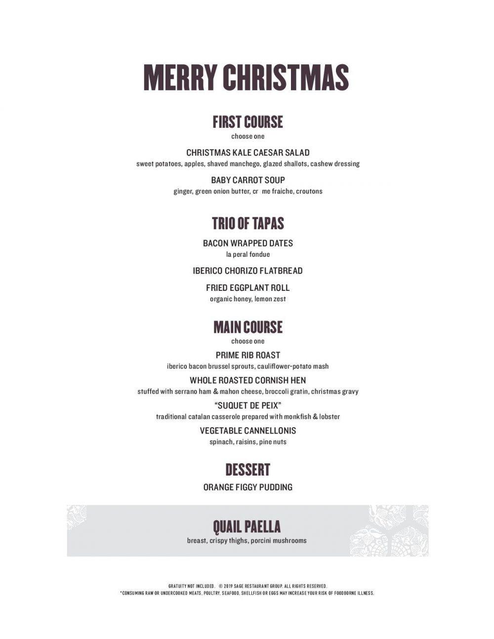 Mercat Christmas Menu