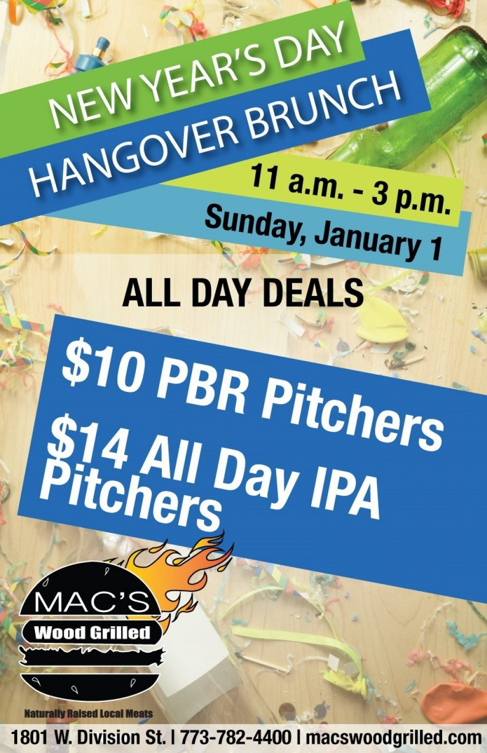 New Year's Day Hangover Brunch at Mac's Wood Grilled