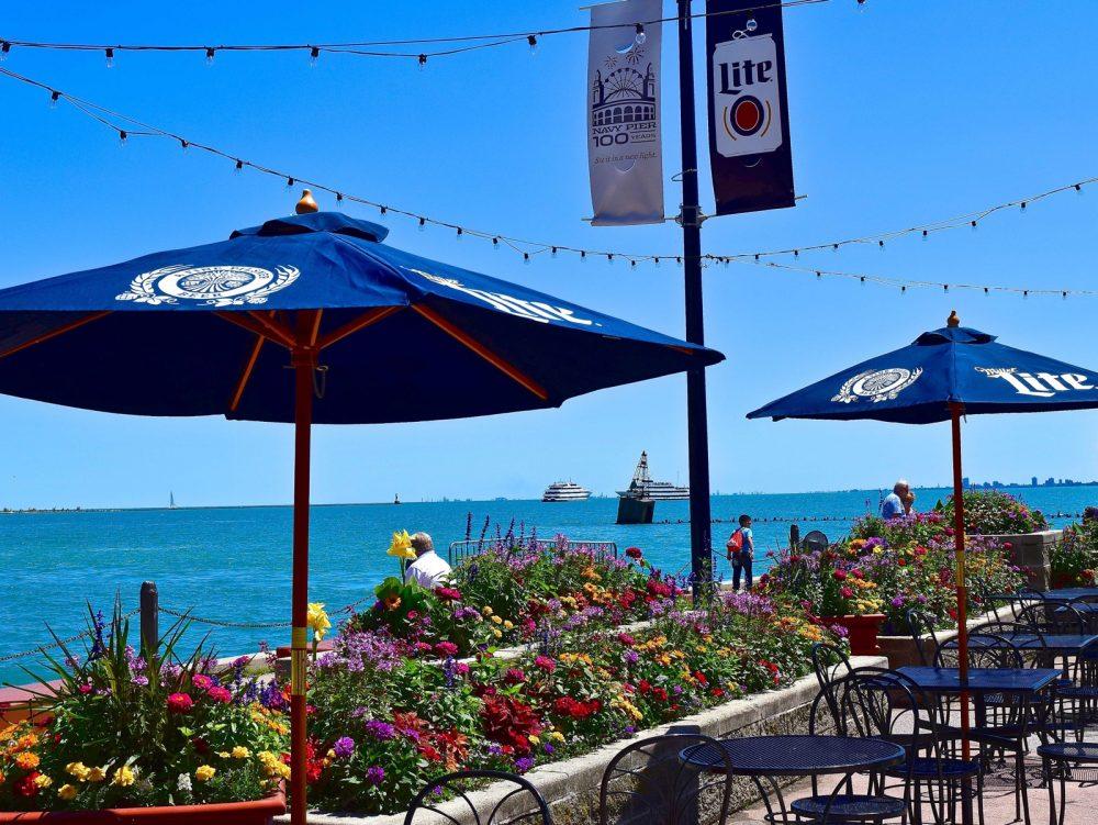 miller lite, beer garden, navy pier, summer, warm weather, patio