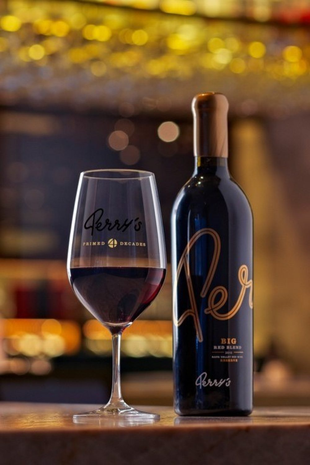 Perry's Reserve Bit Red Blend and 40th Anniversary Edition wine glass