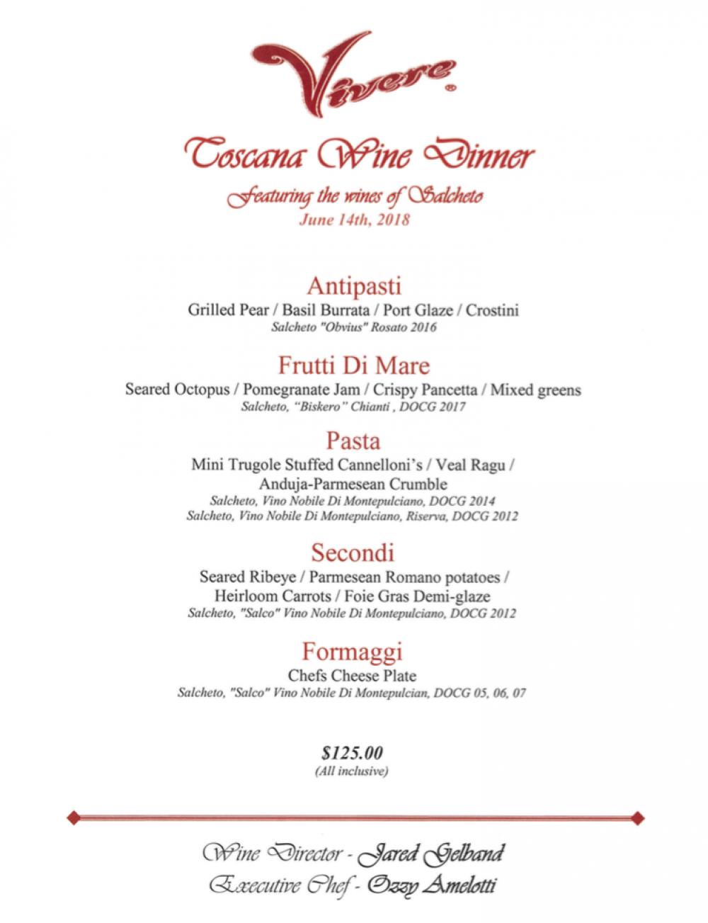 Toscana Wine Dinner Menu
