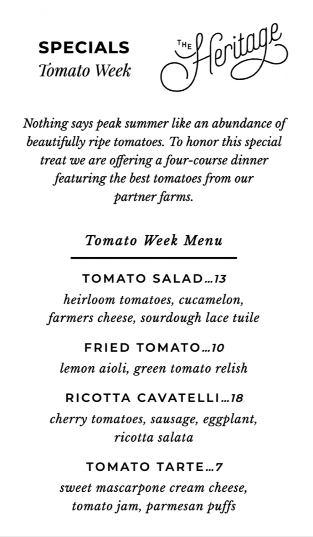 The Heritage Tomato Week