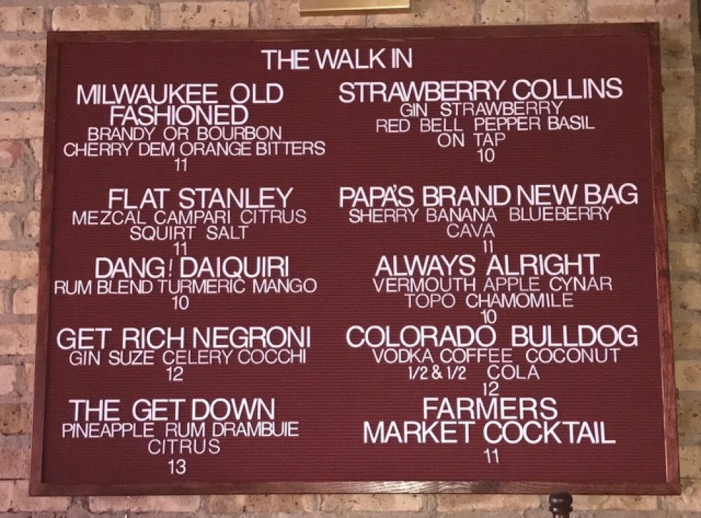 The Walk In Cocktail Menu Board