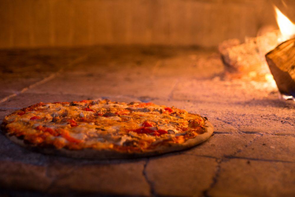 Pizza Americana In Oven