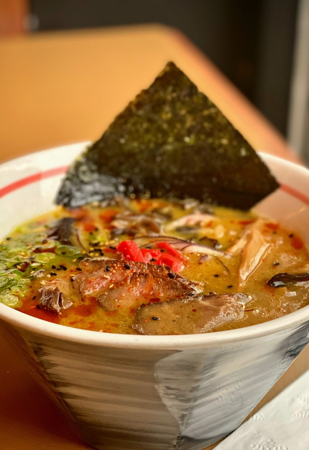 Curry Ramen with sliced Duck Breast and Beef Tongue.