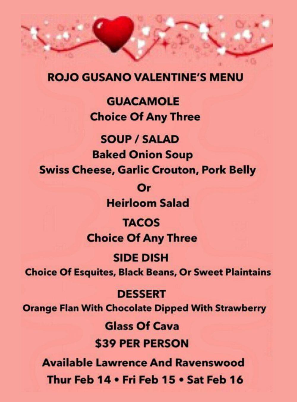 Rojo Gusano Valentine's Menu
