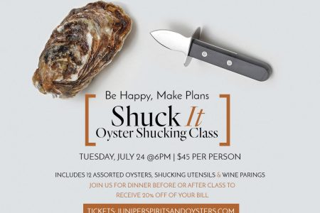 Juniper Spirits & Oysters Offer Oyster Shucking Class